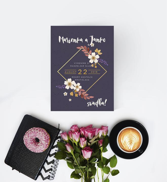 svadobné oznámenia s kvetmi