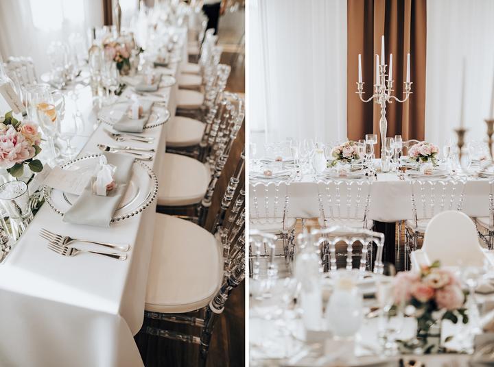 luxusná svadobná výzdoba, priesvitné stoličky