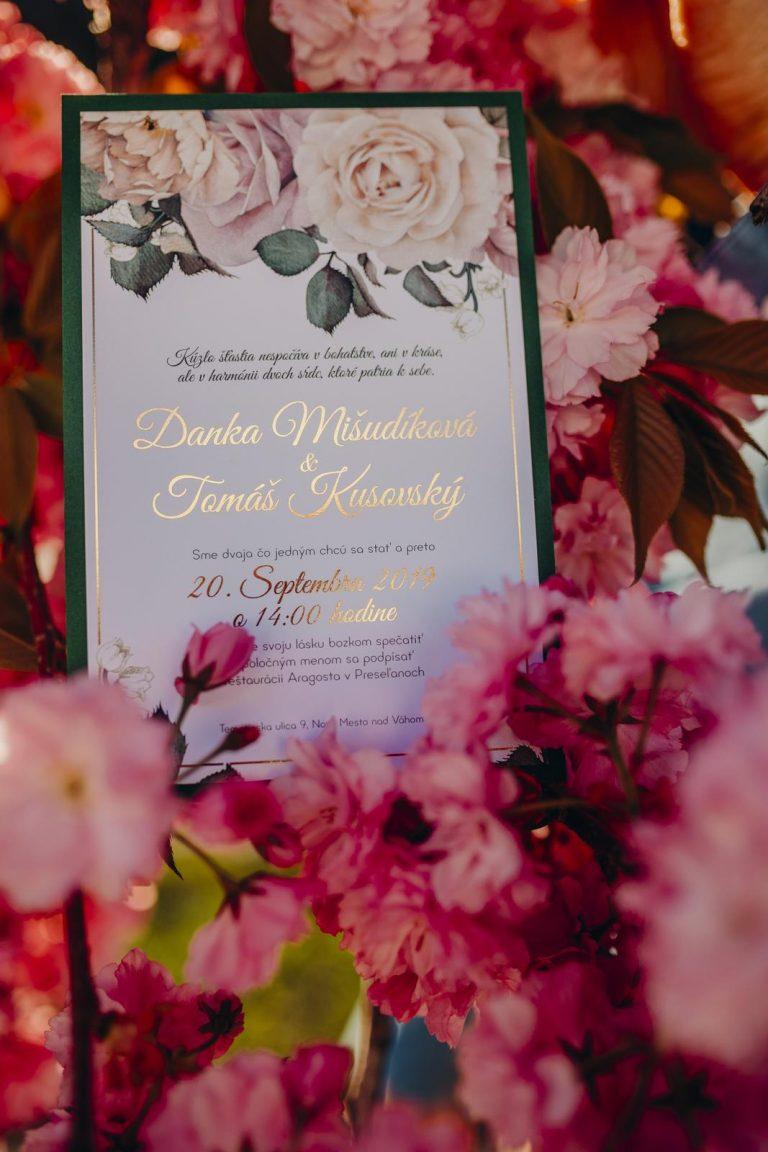 kvetinové svadobné oznámenie