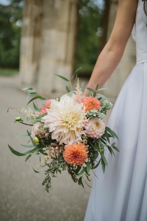 oranžová svadobná kytica