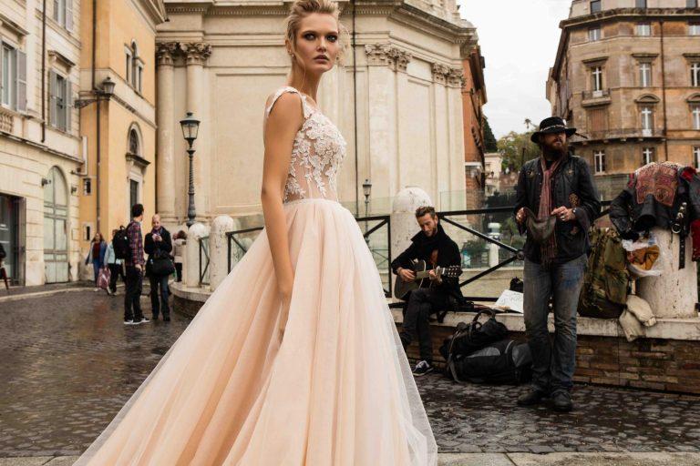 broskyňové svadobné šaty Innocentia