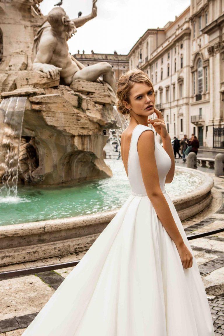 elegantné biele svadobné šaty