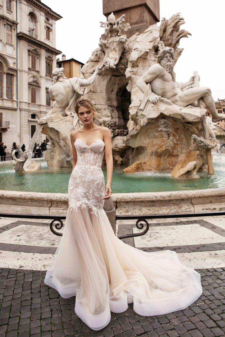 ivory svadobné šaty v štýle morská panna