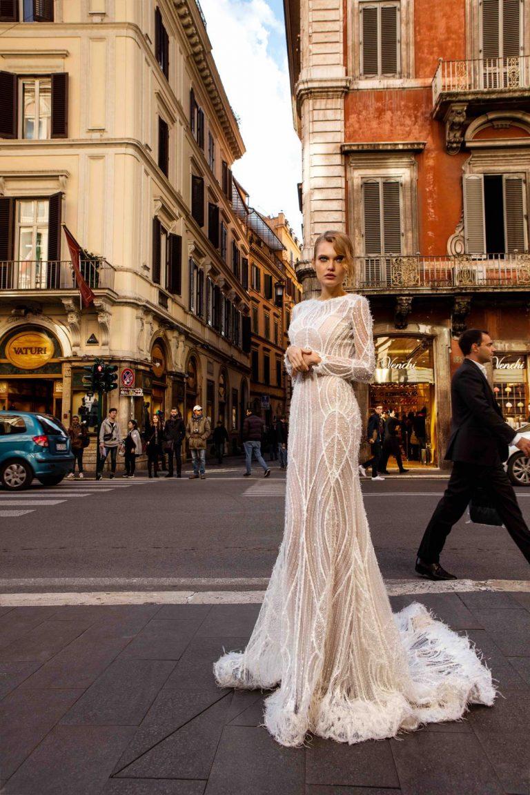 elegantné luxusné svadobné šaty s korálkami