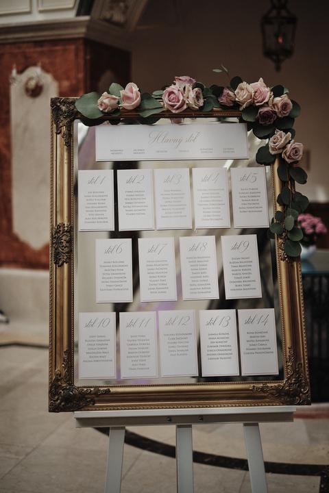 svadobný zasadací poriadok v zrkadle