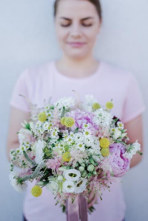 ružová, jemná svadobná kytica