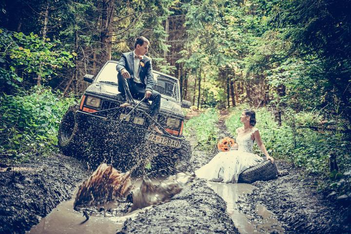 terénne svadobné auto
