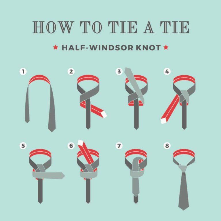 ako uviazať uzol polovičný Windsor na kravate