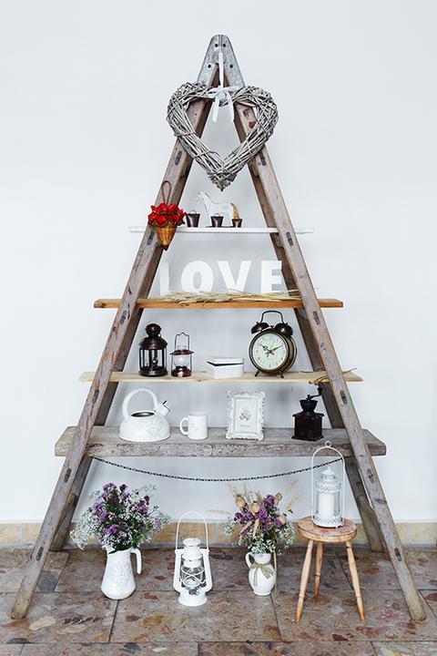 rebrík ako svadobná dekorácia