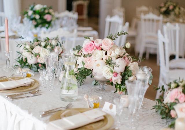 svadobná výzdoba v bledo ružovej farbe