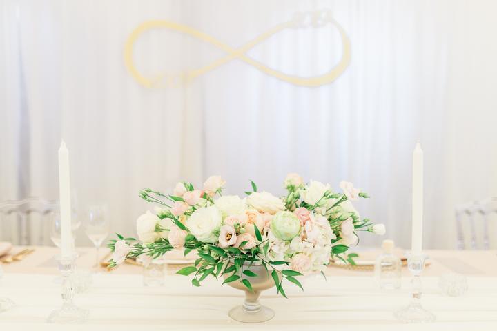 hlavný svadobná stôl a znak nekonečno