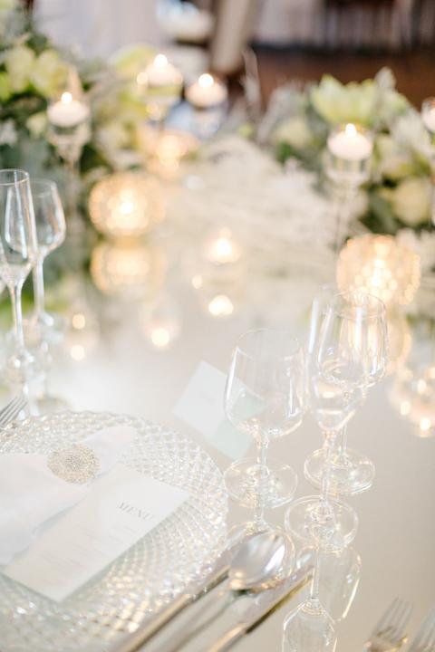 romantická biela svadobný výzdoba