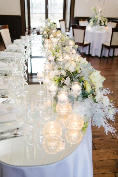 výzdoba hlavného svadobného stola