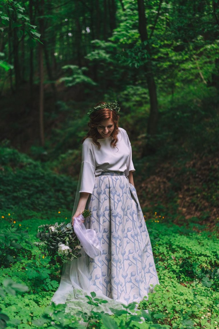 tunika a sukňa pre nevestu, netradiční svadobné šaty