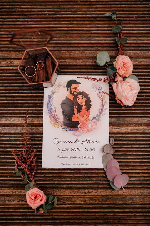 netradičné kreslené svadobné oznámenie