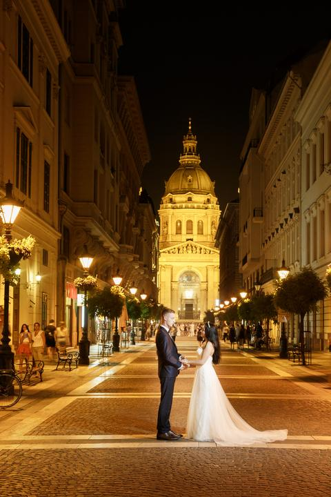 nočné svadobné fotenie v Budapešti