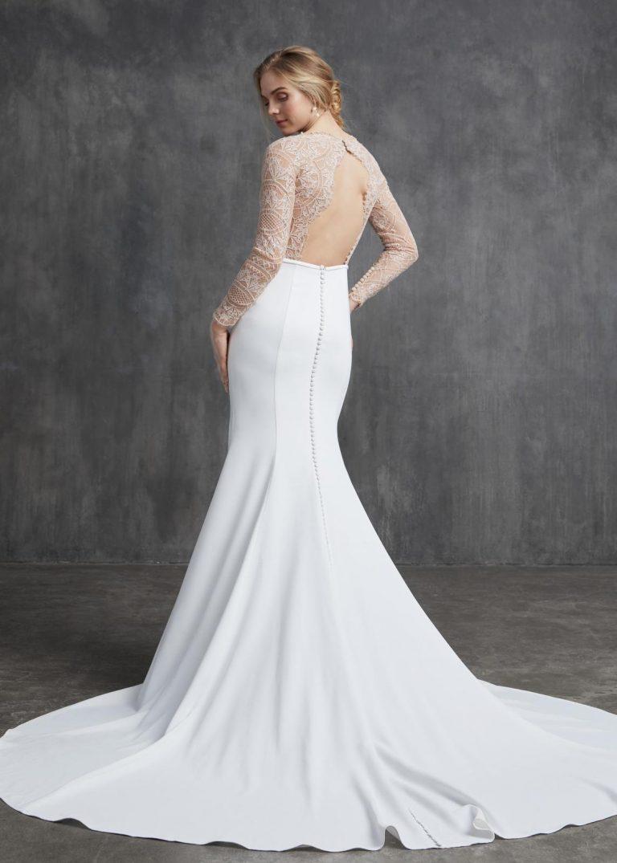jednoduché svadobné šaty s čipkou Kelly Faetanini, model Brigitte