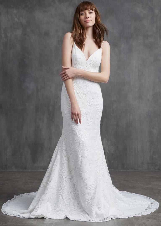 jednoduché svadobné šaty s čipkou Kelly Faetanini, model Doris