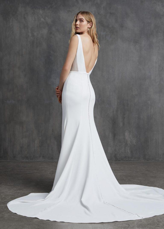 jednoduché svadobné šaty s holým chrbtom Kelly Faetanini, model Jayne