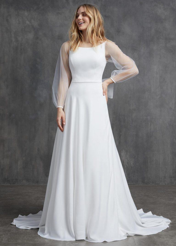 elegantné jednoduché svadobné šaty s dlhým rukávom Kelly Faetanini, model Sophia