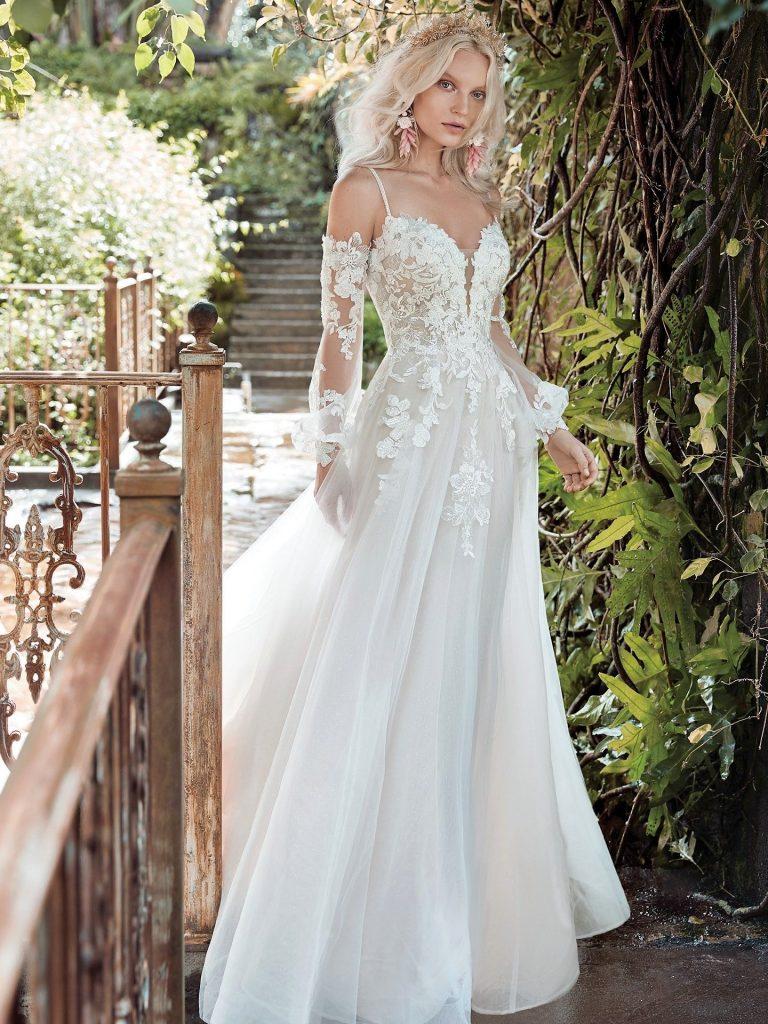 svadobné šaty s odopínateľnými rúkavmi