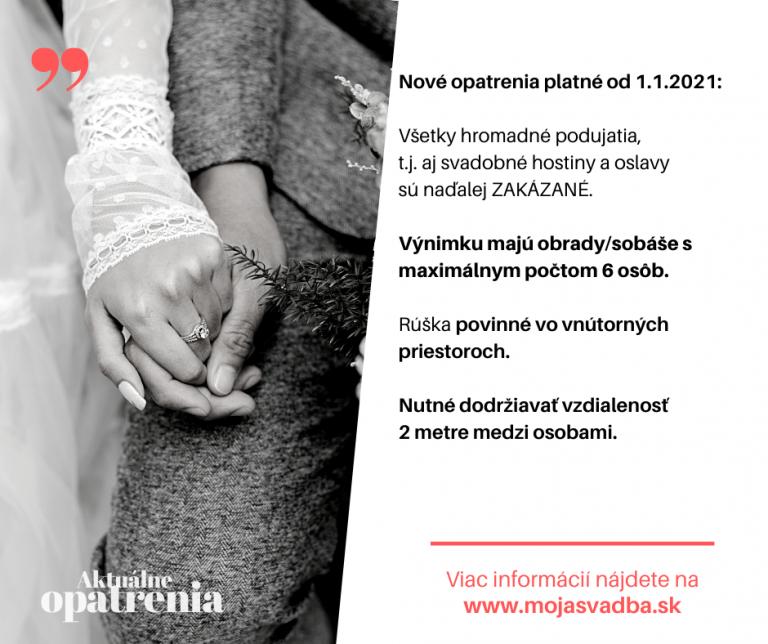 opatrenia pre svadby od 1.1.2021