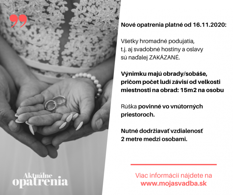 Opatrenia pre svadby platné od 16.11.2020